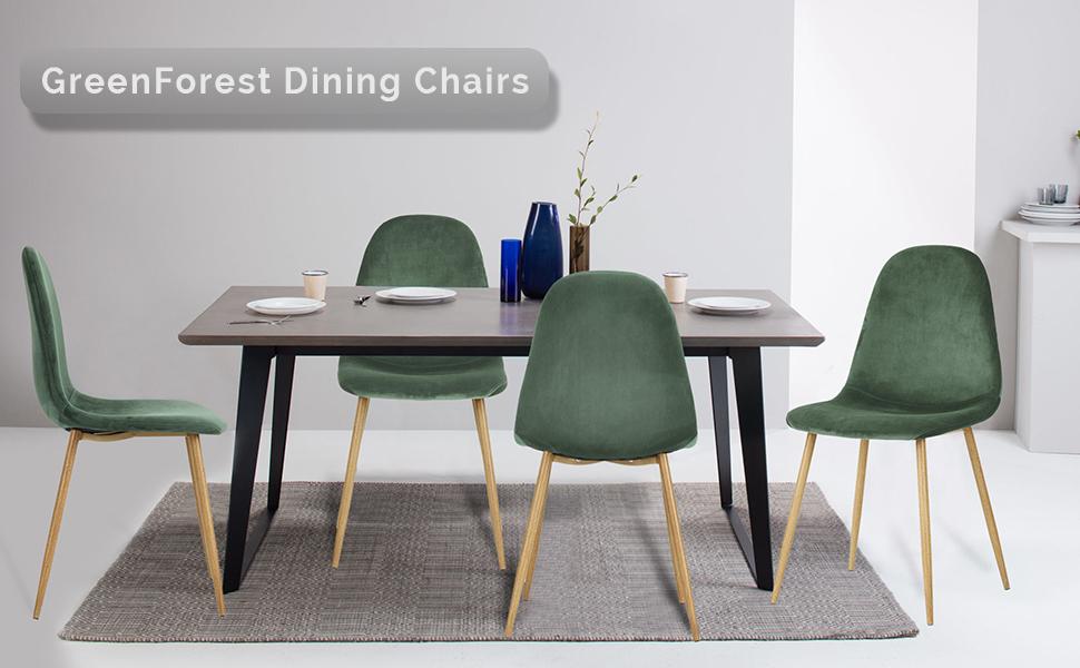 Amazon.com - GreenForest Dining Chairs for kitchen, Elegant Velvet ...