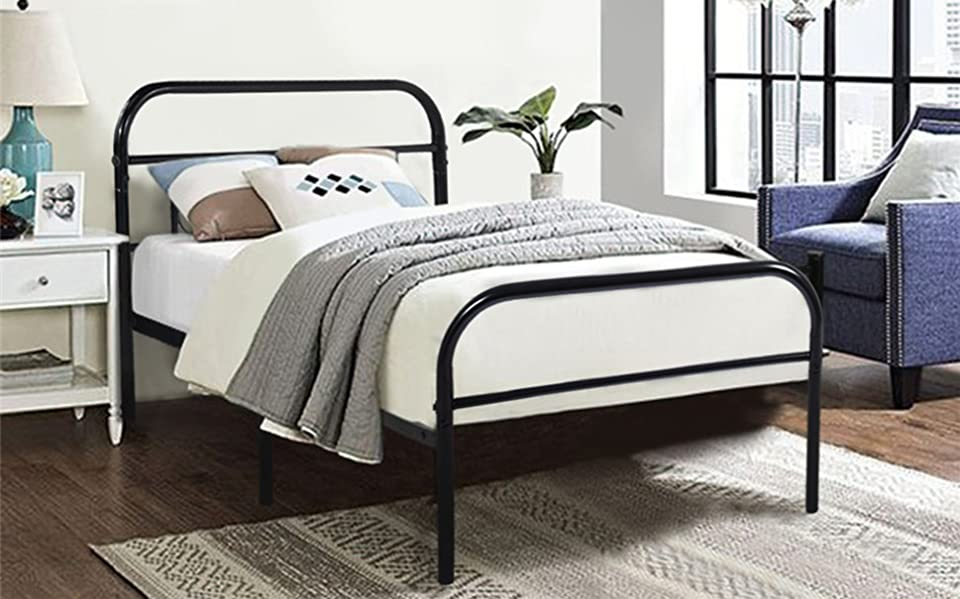 Amazon.com: GreenForest Twin Bed Frame Metal Platform Mattress Base ...