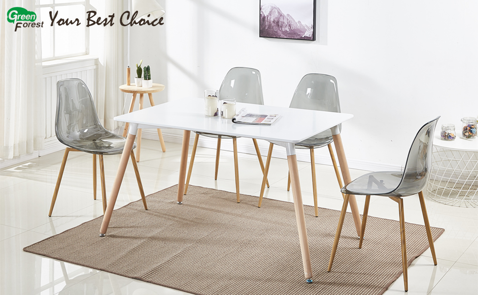 GreenForest Acrylic Dining Side Chairs Transparent Clear Smoky Seat With  Strong Metal Legs, Set Of 4