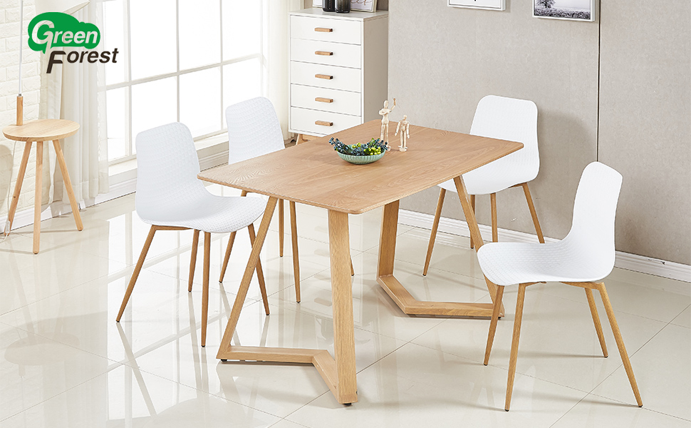 f2919c660b77 GreenForest Set of 4 Mid Century White Dining Chairs Kitchen Room PP Leisure  Side Chairs