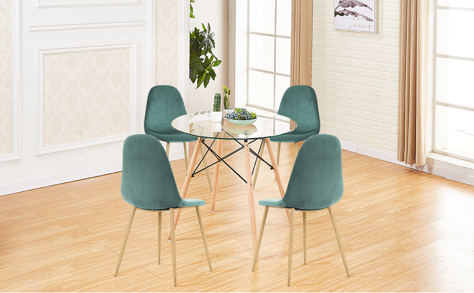 Amazon.com: Green Forest Dining Table Round Clear Glass Table Modern ...