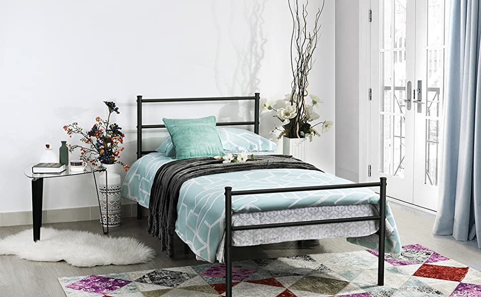 Amazon Com Greenforest Metal Bed Frame Twin Size Two Headboards 6