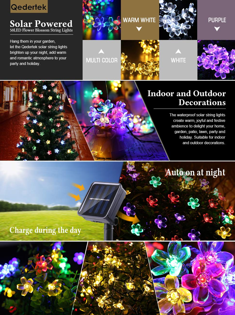 solar string lights multi colored - Solar Christmas Decorations Outdoor