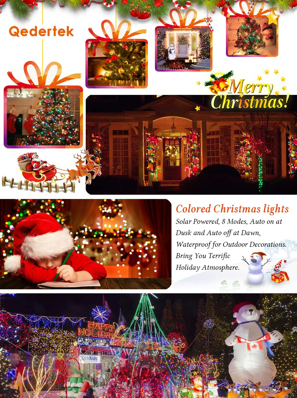 qedertek 200 count colorful solar powered decorative lights strand wonderful holiday and daily decorations - Solar Powered Outdoor Christmas Decorations
