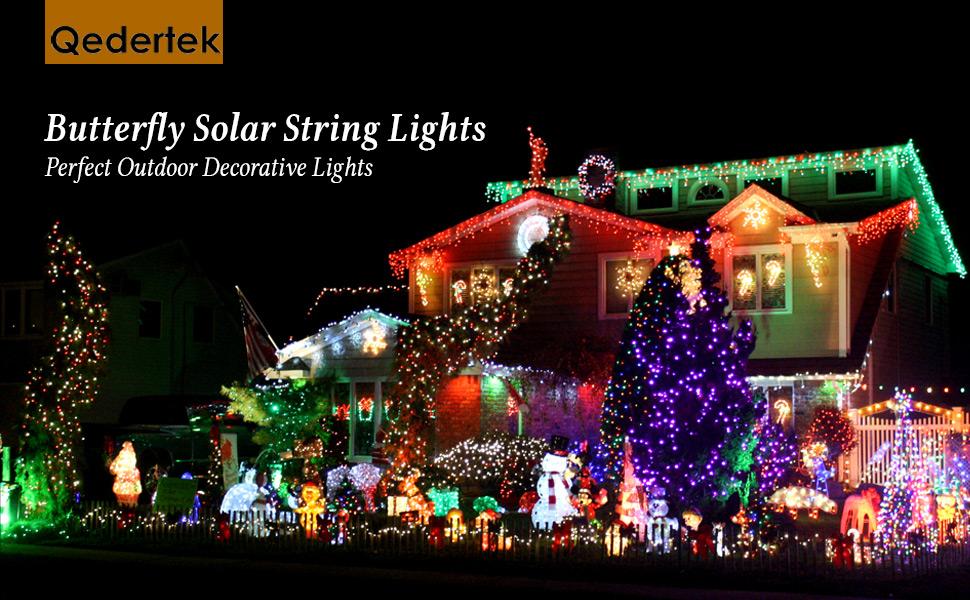 qedertek butterfly solar string lights 246ft 40 led waterproof fairy lights - Decorative String Lights