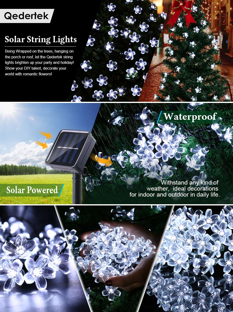 Solar Christmas Decorations.Qedertek Solar Christmas String Lights Fairy Garden Blossom Led Lights For Outdoor Home Lawn Patio Party And Holiday Decorations 2pack White