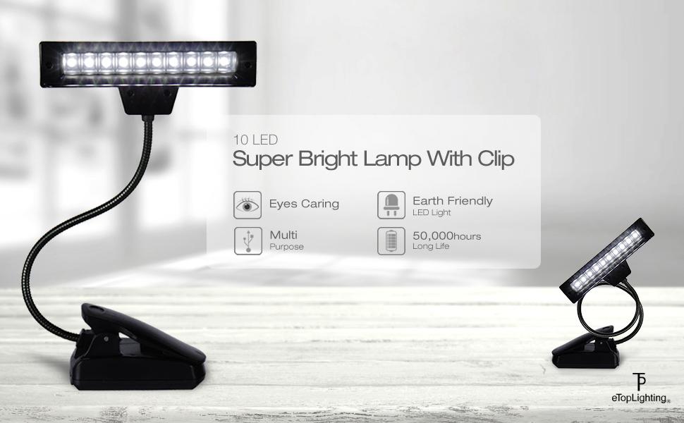 2 pcs Super Bright LED /à clipser Mini livre lampe de lecture r/églable lampe de nuit /à LED pour la s/écurit/é Lunettes lecteur de camping Lunettes de s/écurit/é lampe P/êche Appliance Maintenance