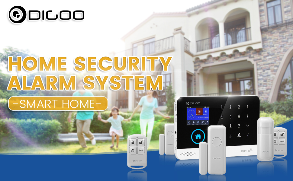 DIGOO HOSA 2G Wireless Home and Business Security Alarm System, 433MHz GSM&WIFI Smart Security System DIY Kits, Burglar Alarm With Full Touch ...