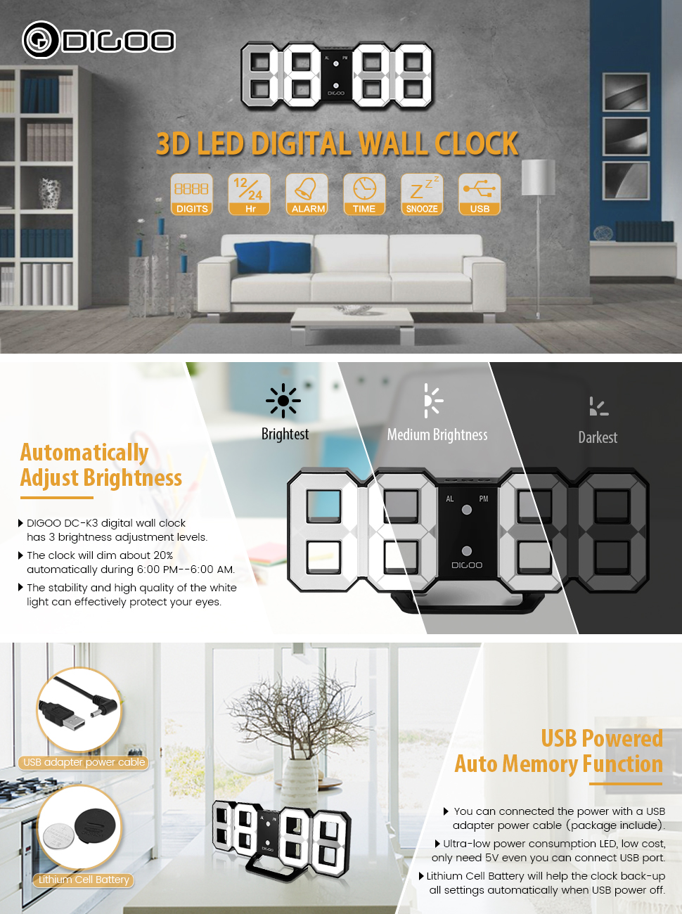Amazon 3d led digital wall alarm clockdigoo dc k3 multi digoo dc k3 3d led digital multi function digital alarm clock wall alarm clock amipublicfo Images