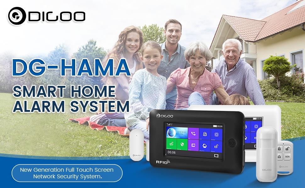 DIGOO DG-HAMA Alexa Wireless Home and Business Security Alarm System,  433MHz GSM&WIFI Smart Security System DIY Kits, Burglar Alarm With Full  Touch