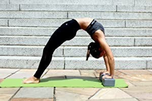 dimok Yoga Blocks and Strap Set - Foam Bricks 9x6x4 and 8FT Yoga Belt Metal D-Ring - High Density Eco-Friendly Premium Quality