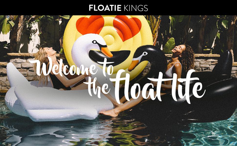 floatie kings fk swan blk premium swan float. Black Bedroom Furniture Sets. Home Design Ideas