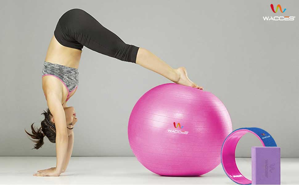 Wacces Exercise Workout Yoga Ball for Yoga Fitness Body Sculpting  with Pump