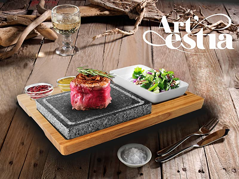 Deluxe Barbecue / Steak Grill / Hibachi Sizzling Hot Stone Set, Perfect For Tabletop  Grill Party!