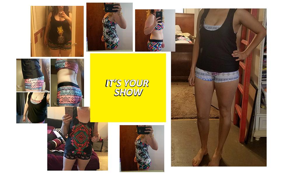 da38cff9b8696 3 pieces tankini set print swimsuits for women sporty swimwear with  boyshort bathing suit