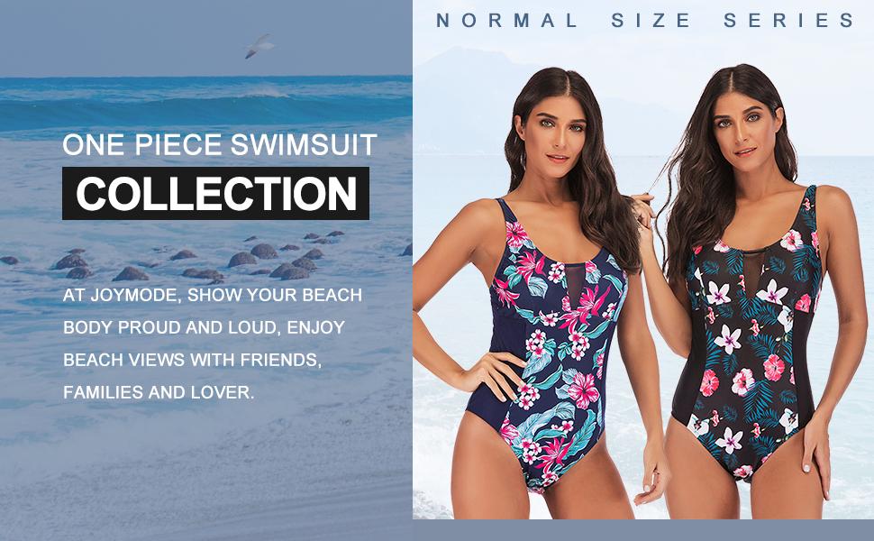 JOYMODE Womens Plus Size Swimsuit One Piece Swimwear Mesh V Neck Bathing Suit