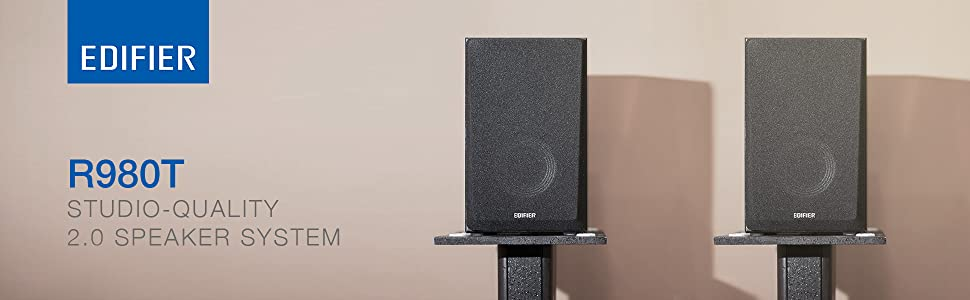 R980T black speakers music audio sound studio quality 2.0 speaker system bass