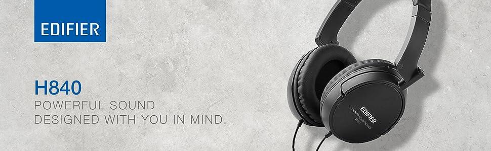 H840 headphones music audio sound black blue white powerful design comfort ergonomic