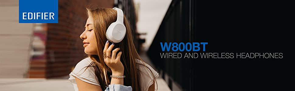 W800BT edifier white headphones lightweight music audio sound