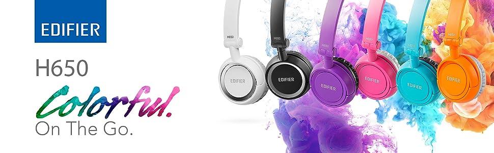 H650 edifier colorful headphones white black purple pink blue orange music audio sound travel