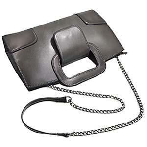 The grey handbag with dechtable chain strap