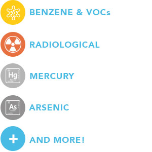 Benzene, VOCs, Radiological, Mercury, Arsenic