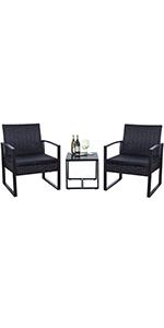 3 Pieces Black Patio Furniture Set