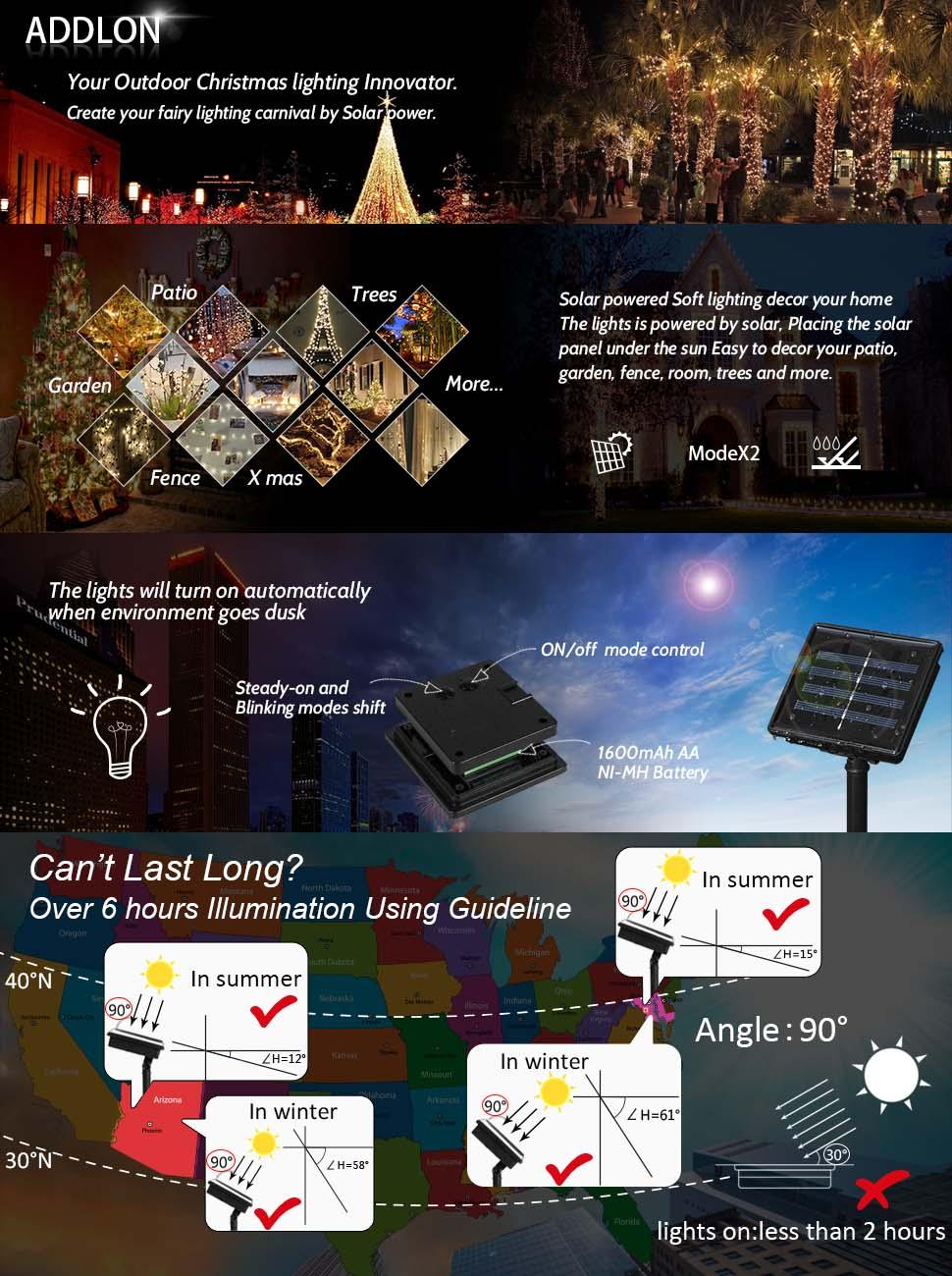 amazon com solar lights outdoor 72ft 200 led fairy lights