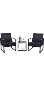 Black 3 pieces patio set