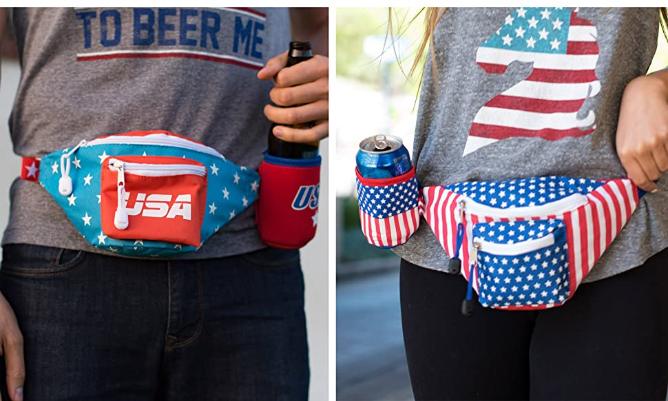 25fc0aaaa96 Amazon.com   Tipsy Elves American Flag USA Fanny Pack with Drink ...