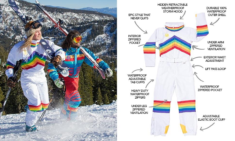 Amazon.com  Tipsy Elves Women s Black Nightrun Retro Ski Suit - Old ... 2edea3be1