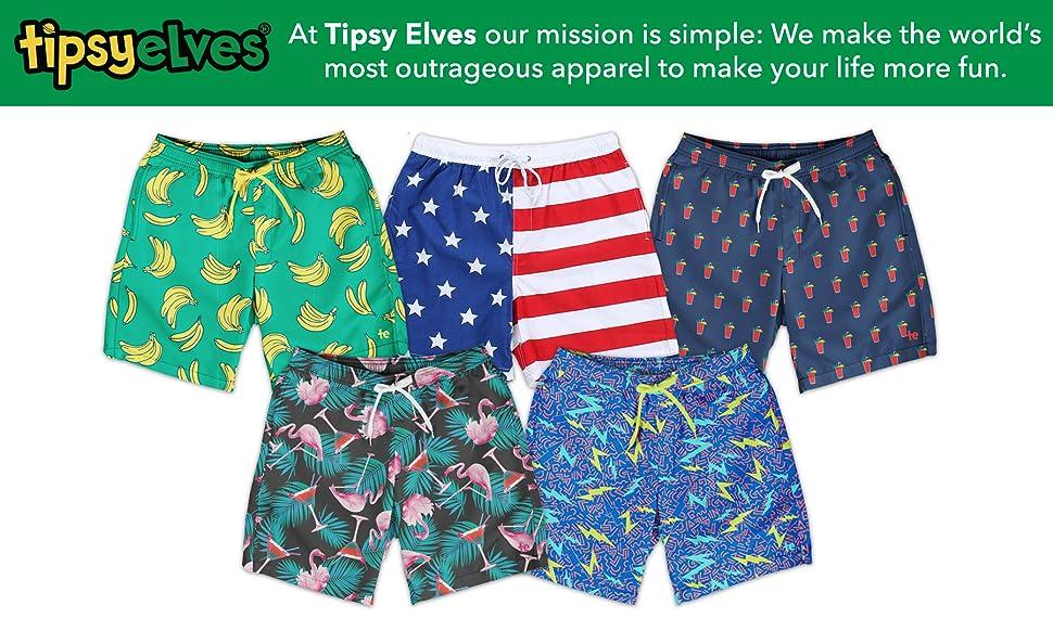 ab060f08fc079 Tipsy Elves Men's Short Swim Trunks - Bright Neon Board Shorts for ...