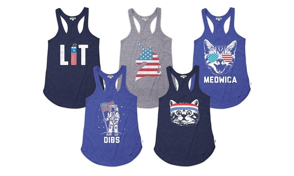 faf932b748 Amazon.com: Women's Funny Patriotic USA Tank Tops - American Flag ...