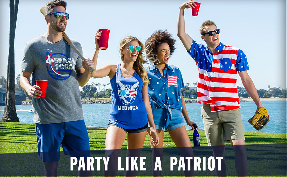 women's USA tee and tank patriotic hawaiian shirt red white and blue shirt 4th of July sunglasses