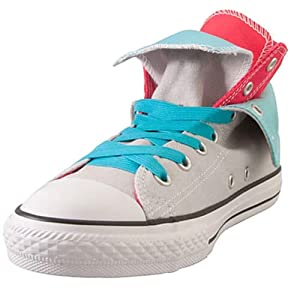 Converse tennis shoes with blue elastic shoelaces on a white background