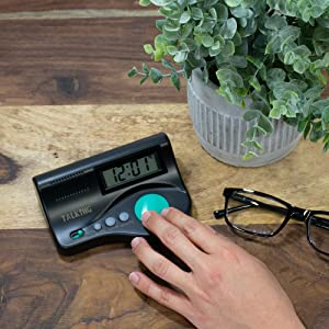 Large Button Visually Impaired /& Kids Large LCD Display Talking Clock for Elderly Alarm Clock and Clear Speaking Voice Group Medical Supply 4336313375