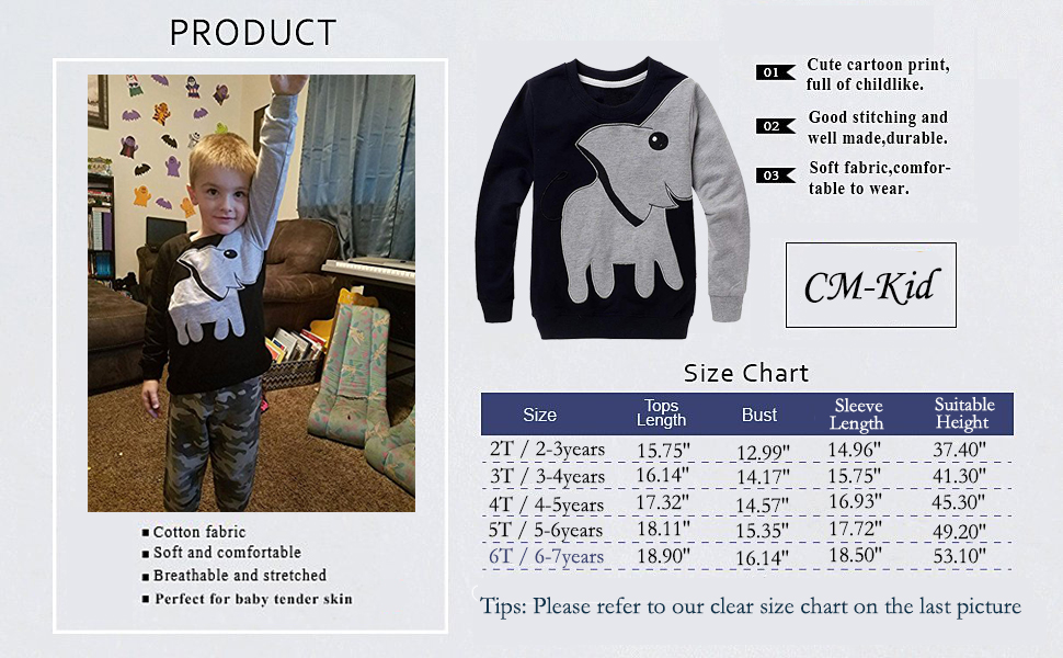 CM-Kid Little Boys Elephant Long Sleeve T-Shirt Cartoon Sweatshirt Pullover 3-7T