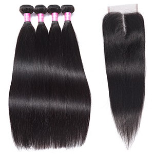 straight human hair bundles with closure