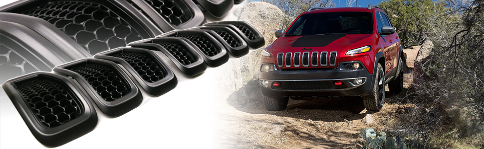 2014-2018 Jeep Cherokee Gloss Front Grille Grill Inserts Covers Gloss 7pcs