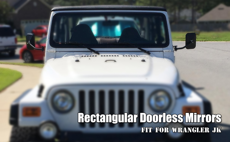 Door Off Mirror for Jeep Wrangler Rectangular Doorless Mirrors