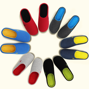 Two-tone slippers arranged in a circle, featuring six different color options for men and women.