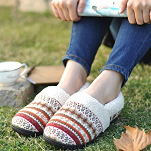 wool cuff slippers for outdoor outside the house closed back casual loafer style shoe with patterns