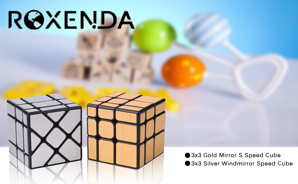 Discover the ROXENDA Magic Speed Mirror S Cube It is a 2-piece set of one Gold Mirror S Cube and one Silver Windmirror Cube. The puzzle is in the irregular size cubes. This type of Speed cubing make the 3x3x3 Speed Cube a Twisty Box Puzzle Fun.