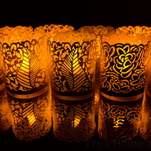not Included 48 Blush Colored Laser Cut Decorative Wraps Flickering LED Battery Tealight Candles - Frux Home and Yard Votive Candle Holders Flameless Tea Light Votive Wraps