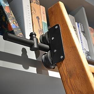 "100cm Rustic Black Round Tube Sliding Barn Ladder DIYHD Track Length 39-3//4/"""