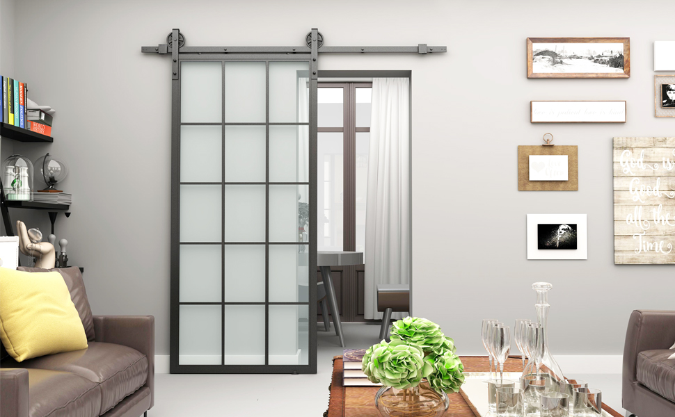 30x865 Inch Black Steel Framed Interior Clear Tempered Glass