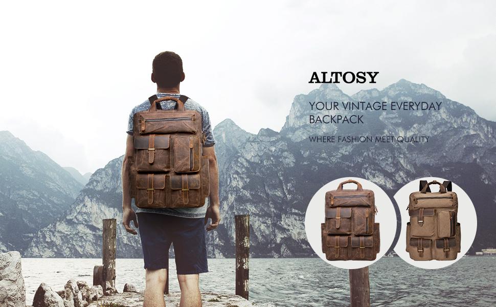41a3da7123e2 Amazon.com  ALTOSY Water Resistant Canvas Backpack Crazy Horse ...