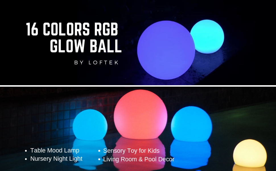 Amazon.com: LOFTEK LED Light Ball : 16-inch RGB Colors Light Sphere with Remote Control, Cordless Floating Pool Lights, IP65 Waterproof and Rechargeable Battery, Sensory Toys for Kids, Home, Garden, Party Decor: Baby