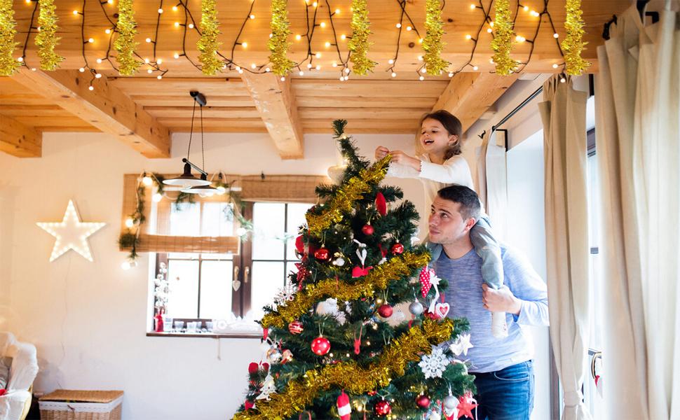 Amazon.com: DECORA Gold Tinsel Garland for Christmas Tree ...