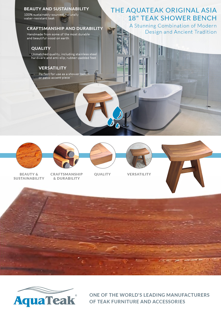 Amazoncom Aquateak 18 Asia Teak Shower Bench Health Personal Care
